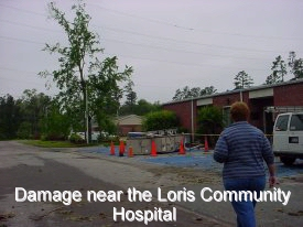 Damage near the Loris Community Hospital
