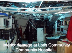 Interior damage at Loris Community Hospital