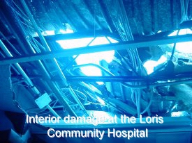 Interior damage at the Loris Community Hospital
