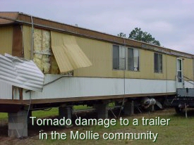 Tornado damage to a trailer in the Mollie community