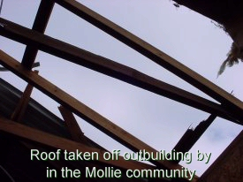 Roof taken off outbuilding by tornado in the Mollie Community