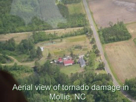 Aerial view of tornado damage in Mollie Community