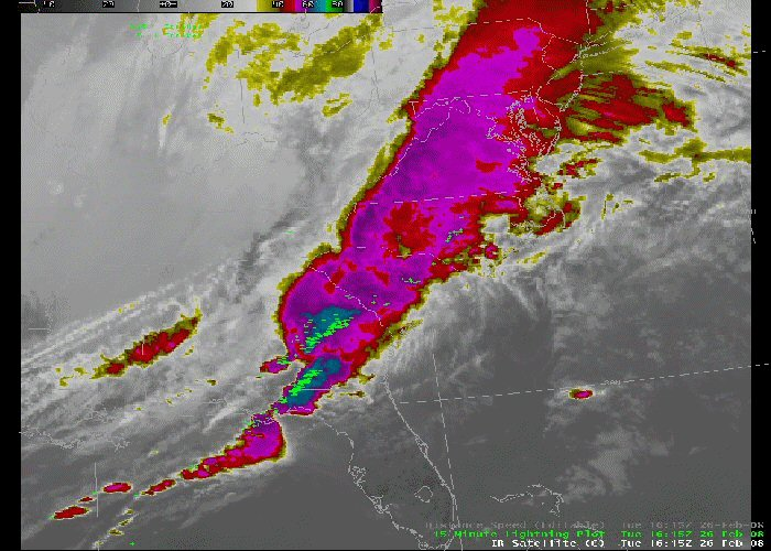 Satellite image of line of thunderstorms