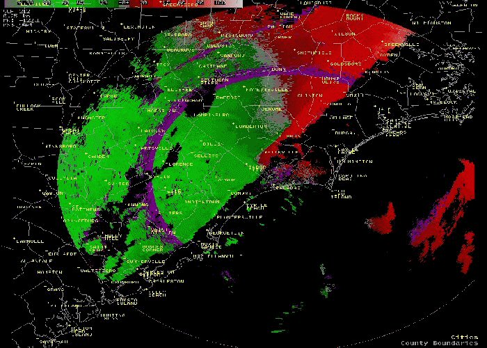 Radar Velocity Image of line of thunderstorms