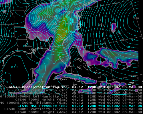 Image of GFS Model showing Surface Pressure and Precipitation