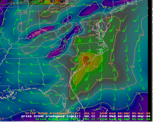 Image of GFS Model Winds at 925 mb