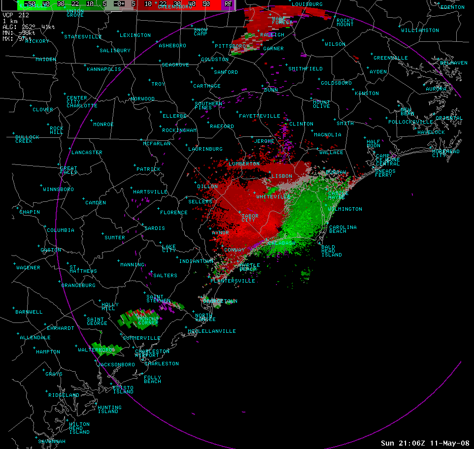 Radar Velocity Loop of Severe Thunderstorm on May 11th, 2008
