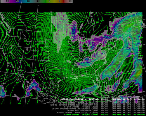 A picture of the 500 mb pattern from the Jan 20, 2009 Snow Event