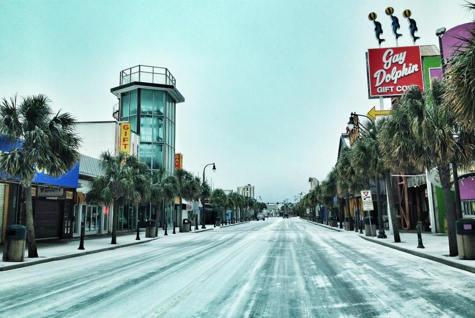 A Frozen North Ocean Boulevard In Myrtle Beach SC Photo Credit Matt Moore Via Jamie Arnold WMBF News