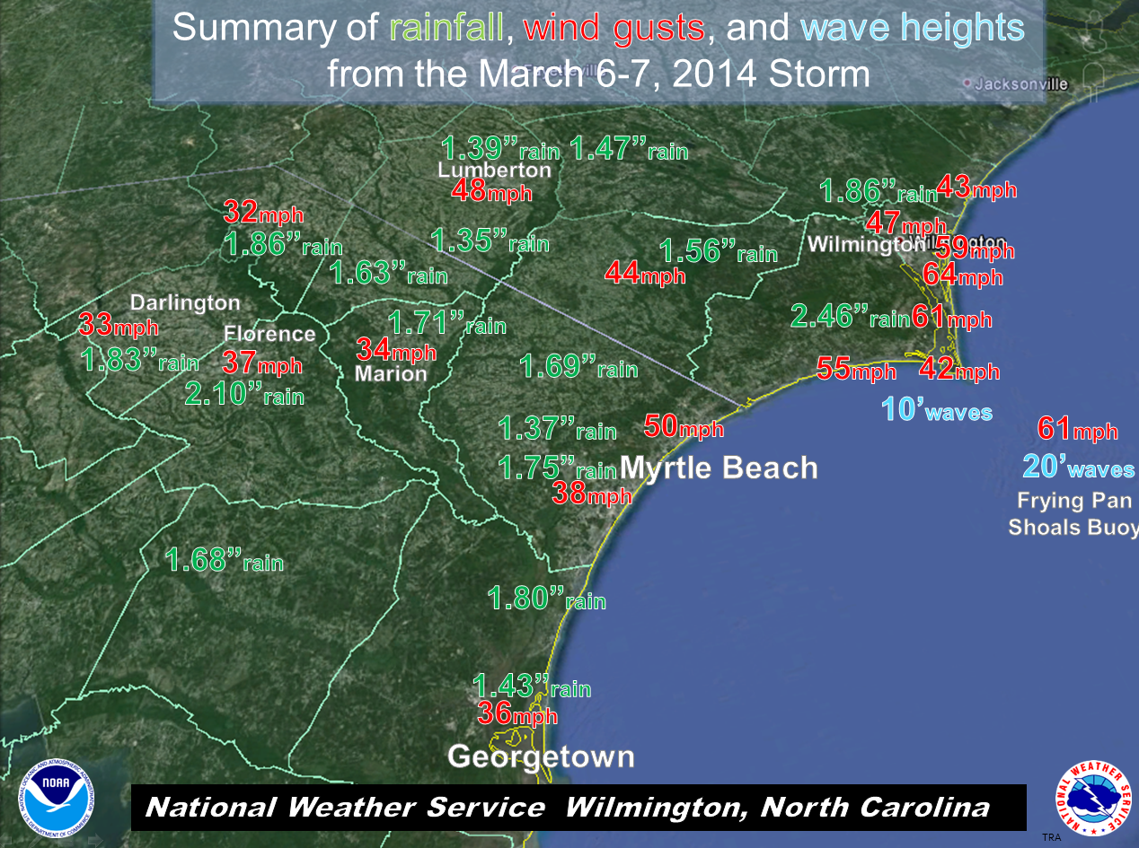map of storm reports from March 6 and 7, 2014