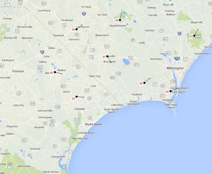 North Carolina Wildfire Map.Fire Weather