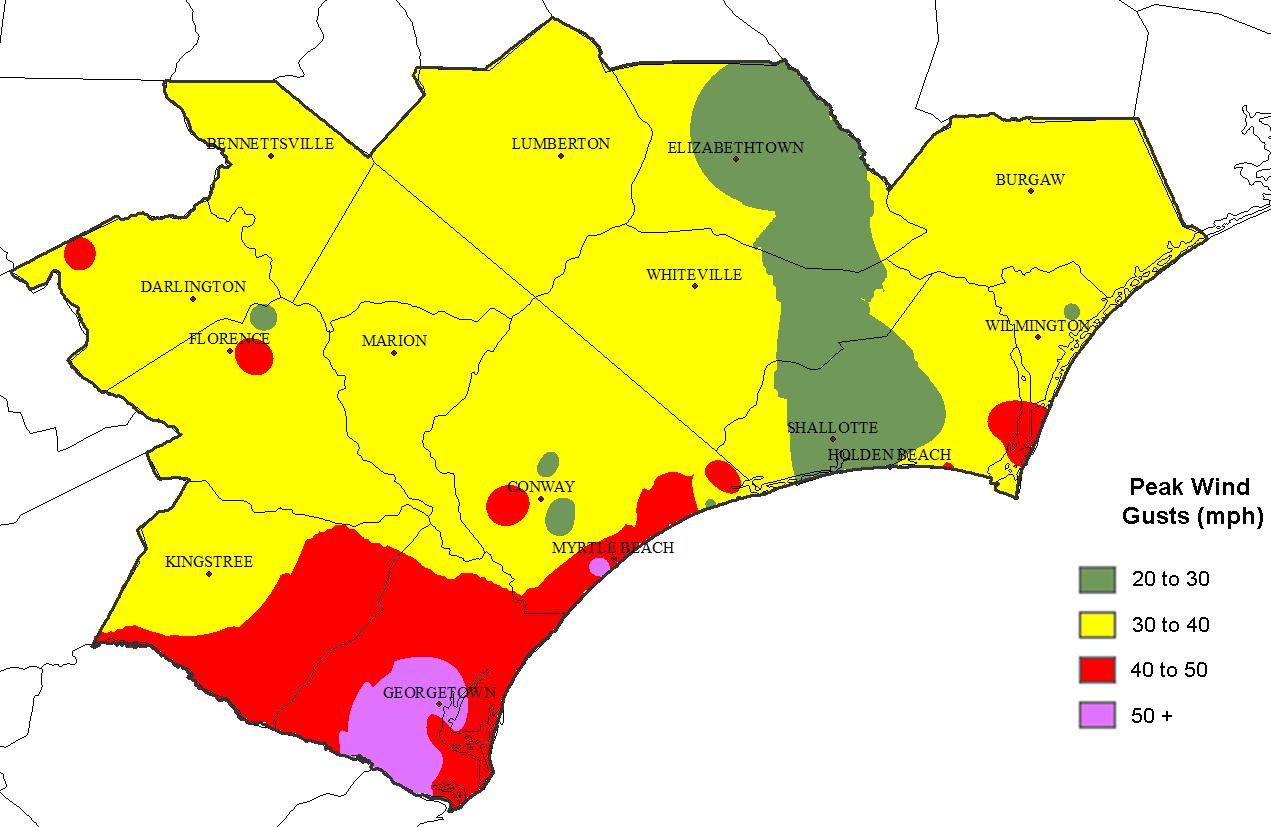 Hurricane Irma Wind And Rain Nws Wilmington Nc Forecast Area