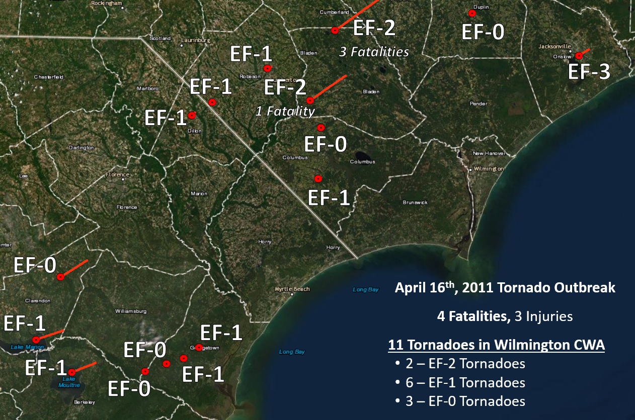 A summary of the April 16, 2011 Tornadoes across the Wilmington area. Several other tornadoes were confirmed over portions of eastern NC.