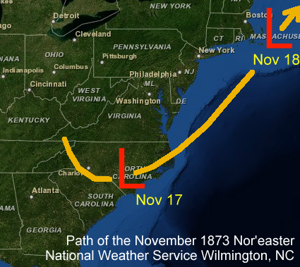 Path of the November 1873 Nor'easter