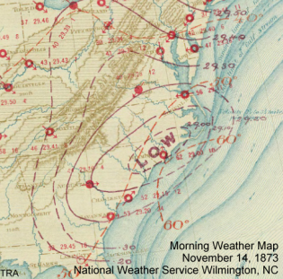 Morning weather map from November 17, 1873 showing a powerful low over the Coastal Carolinas