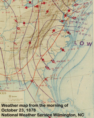 Surface weather map of the Gale of 1878