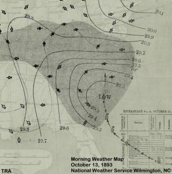 "Morning weather map from October 19, 1893 showing the ""Charleston Hurricane"" moving into the Carolinas"