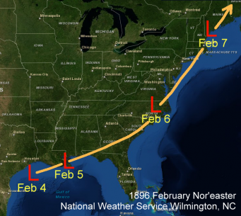 Track of the February 6, 1896 Nor'easter