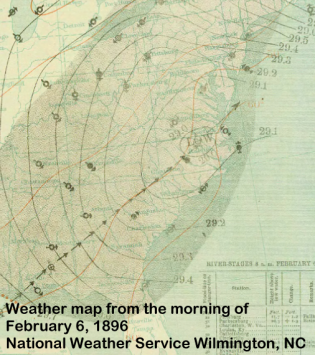 Surface map of the Nor'easter on February 6, 1896