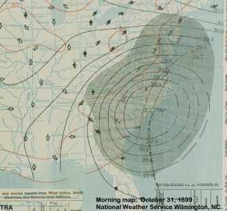 "Morning weather map for October 31, 1899 showing Hurricane ""Nine"""