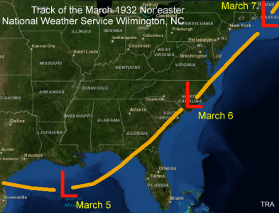 Track of the early March, 1932 Nor'easter