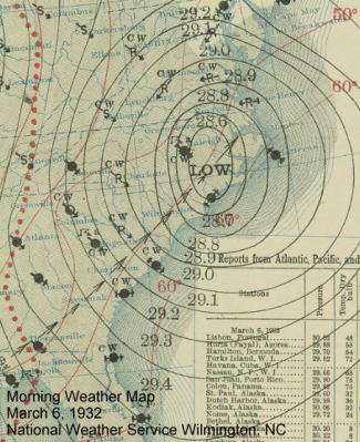 Morning weather map from March 6, 1932