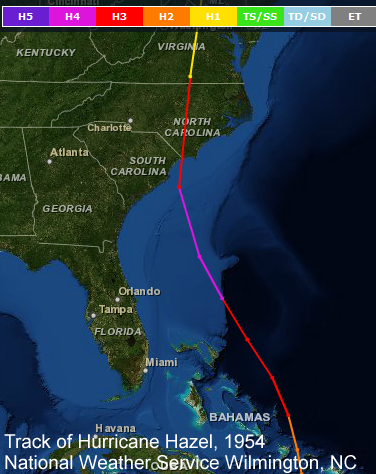 Track of 1954 Hurricane Hazel