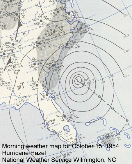 Morning weather map from October 15, 1954 with Hurricane Hazel