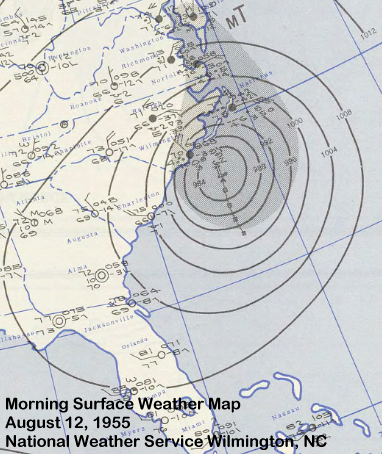Surface weather map of 1955's Hurricane Connie
