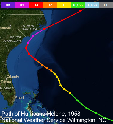 Hurricane Helene's track, September 1958