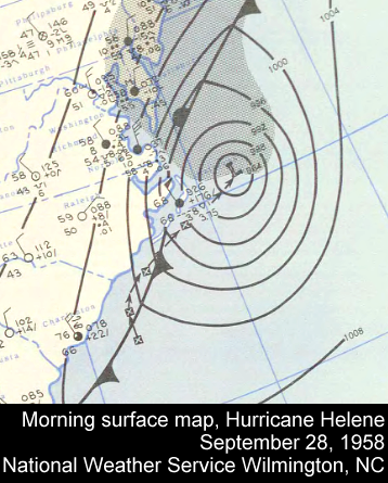 Weather map of Hurricane Helene, September 28, 1958