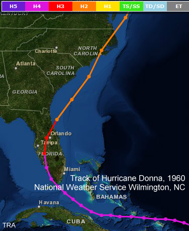 Track of Hurricane Donna, September 1960