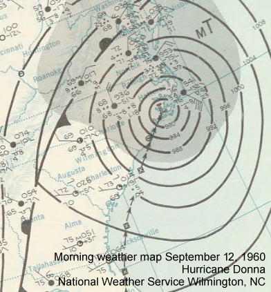 Morning weather map, September 12, 1960 featuring Hurricane Donna