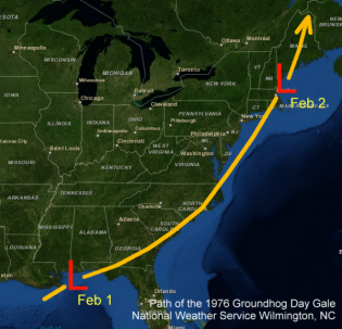 Path of the 1976 Groundhog Day Gale