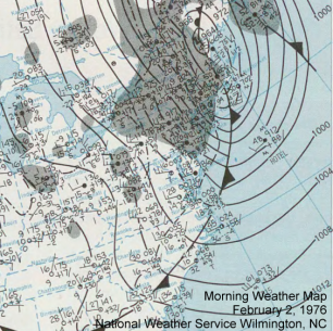 Surface weather map from February 2, 1976