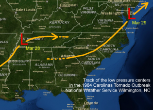 Track of the surface lows during the Carolinas Tornado Outbreak of March 28, 1984
