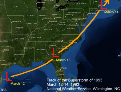 Track of the 1993 Superstorm, March 12 through 14, 1993