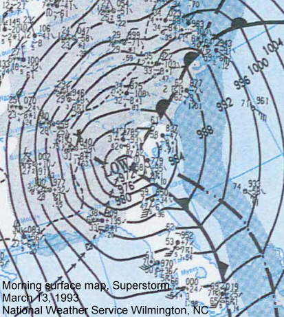 Surface weather map from March 13, 1993, The Superstorm