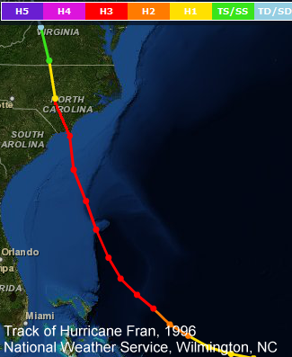 Track of Hurricane Fran, 1996