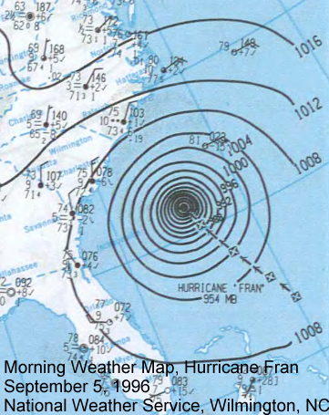 Morning Weather Map, September 5, 1996 showing Hurricane Fran approaching North Carolina