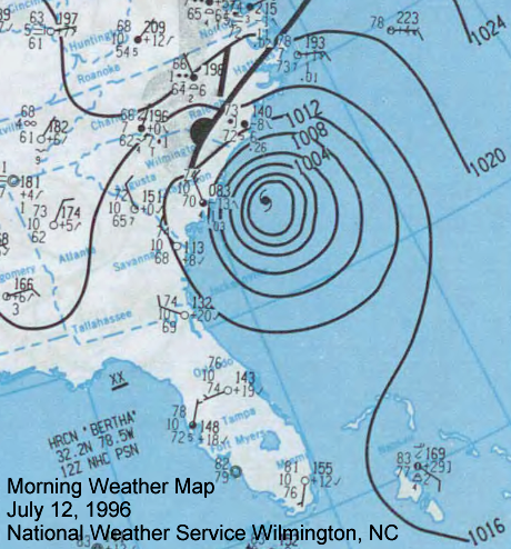 July 12, 1996 surface weather map with Hurricane Bertha