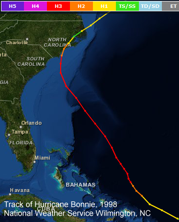 Track of 1998's Hurricane Bonnie