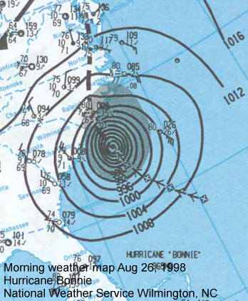 Morning weather map for August 26, 1998.  Hurricane Bonnie.