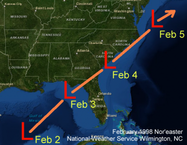 Track of the February 1998 Nor'easter