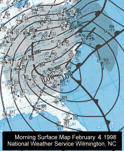 Weather map for February 4, 1998