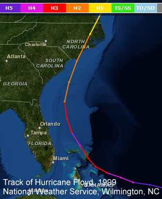 Track of Hurricane Floyd, 1999