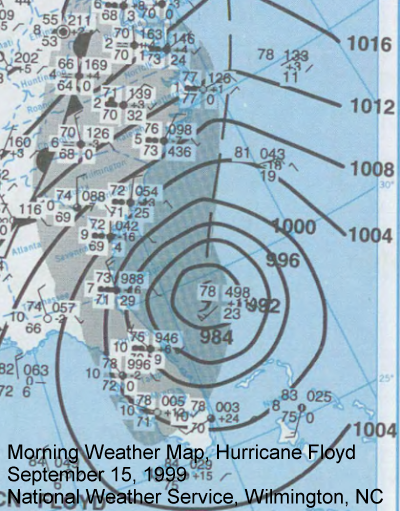 Morning Weather Map, September 15 1999, Hurricane Floyd