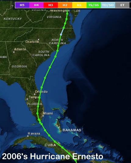 Track of Hurricane Ernesto