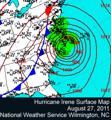 Hurricane Irene surface map, August 27, 2011