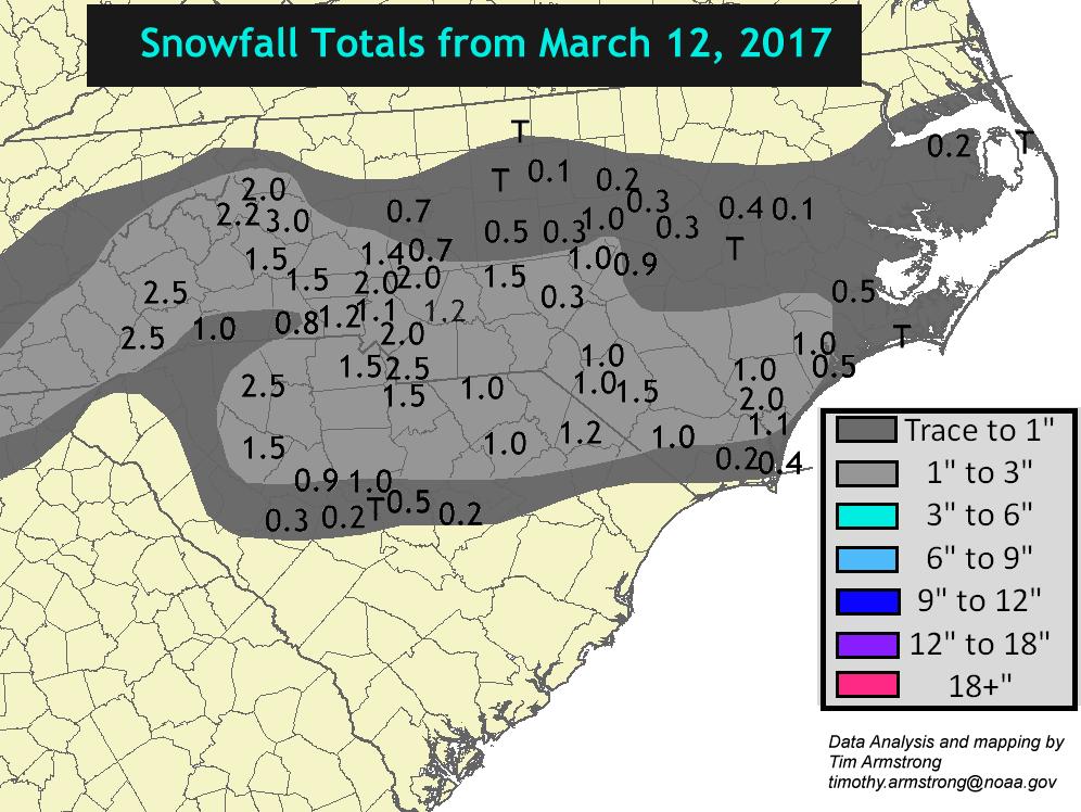 March 12 2017 Carolina Snowfall